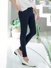 素面纖瘦修身彈性窄管褲