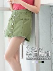 褲腳抽鬚排釦設計高含棉短褲/裙