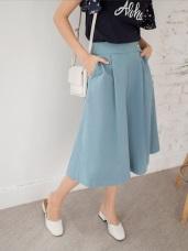 高含棉甜美柔色素面拼接側釦七分寬褲