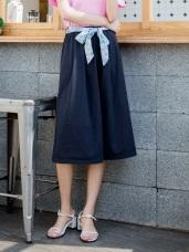附印花綁帶高含棉素面寬版褲