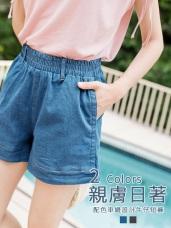 鬆緊腰頭車縫配色設計牛仔短褲