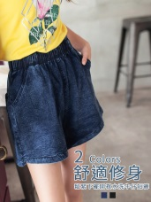 高含棉水洗色澤牛仔丹寧鬆緊短褲