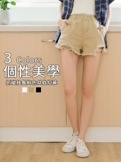 抽鬚抓破設計高含棉純色斜紋短褲