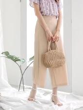 純色後鬆緊腰帶設計雪紡寬褲