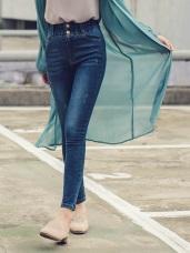 腰鬆緊排釦設計高腰牛仔窄管褲