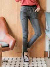 腰鬆緊鈕釦造型彈性牛仔褲