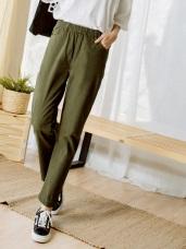 高含棉腰鬆緊裝飾釦直筒褲