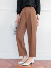 簡約俐落純色打褶寬版褲