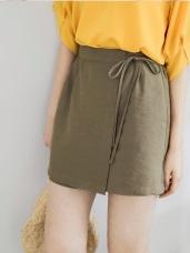 純色綁帶後腰鬆緊前片交疊褲裙