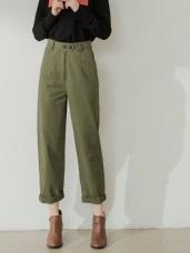 純色後腰鬆緊寬版長褲