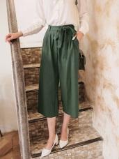 造型腰頭綁帶高含棉純色寬版褲