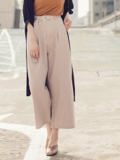 高含棉造型腰帶後腰鬆緊打褶寬褲