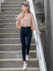 高腰收腹排釦設計牛仔窄管褲