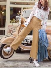 造型皮革拼接高含棉純色直筒褲