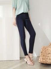 純色高含棉腰鬆緊彈力高腰收腹窄管褲