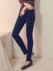 腰鬆緊造型刷剪接窄管牛仔褲