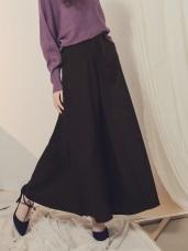 純色後腰鬆緊落地寬褲/褲裙