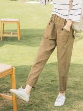 造型口袋設計高含棉素面哈倫褲