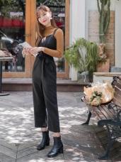 浪漫約會系列~排釦設計綁帶連身寬褲