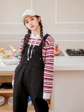 高棉造型口袋設計斜紋吊帶褲