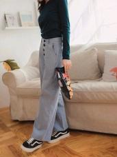 高含棉反褶條紋排釦寬褲