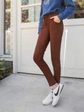 纖腰雙層褲頭設計鬆緊綁帶純色哈倫褲