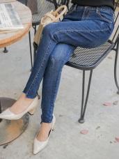 浪漫約會系列~褲腳不規則剪裁牛仔彈力窄管褲