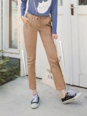 高含棉鬆緊綁帶弧形車線彈性休閒褲