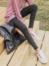 芭蕾舞褲-內刷毛修身彈性雪花窄管褲