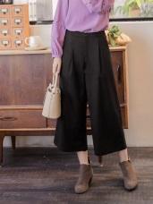 打褶設計純色毛料寬版褲