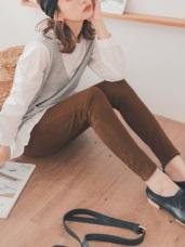高含棉純色磨毛窄管褲