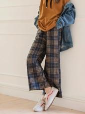 磨毛蘇格蘭格紋時髦寬褲