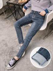 內磨毛車縫配色牛仔窄管褲