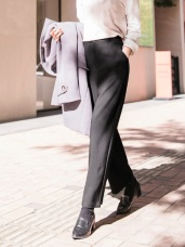 質感純色西裝直筒落地褲