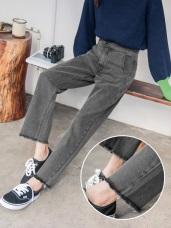 抓鬚設計高棉排釦直筒牛仔寬褲