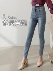 高腰收腹彈力修身窄管牛仔褲