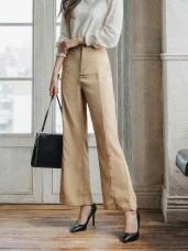 打摺設計純色合身西裝小喇叭褲