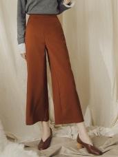 純色質感後腰鬆緊西裝寬褲