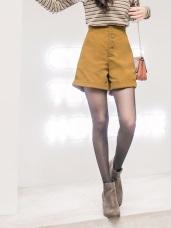 高腰排釦寬褲管反褶短褲