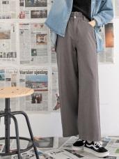 高含棉褲頭皺褶質感寬褲