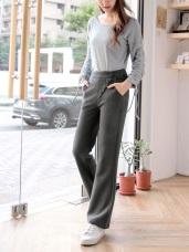 側釦造型修身纖長彈性微喇叭褲