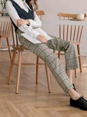 英倫知性大格紋彈性寬褲