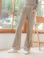 絲絨復刻印象彈性落地寬褲