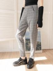 英式質感格紋彈性直筒褲