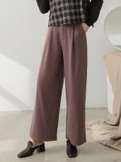 純色微光澤打褶寬褲
