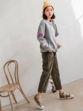 絲絨感鈕釦設計口袋寬褲
