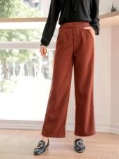 磨毛排釦設計彈性直筒褲