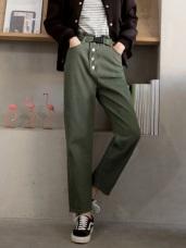 高含棉高腰排釦反褶直筒褲(附腰帶)