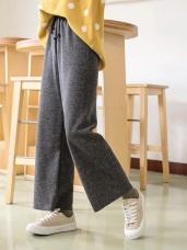 毛料壓紋腰鬆緊綁帶直筒寬褲