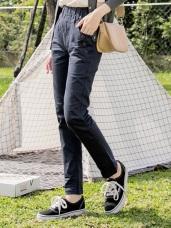 收腰寬版褲頭排釦口袋純色直筒褲